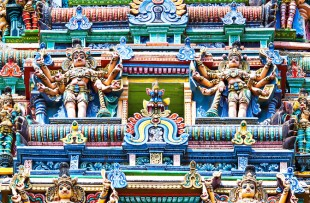 Different gods on Meenakshi temple facade, Madurai, India copy