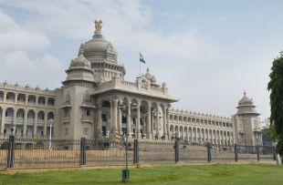 Government building viewed from a garden, Vidhana Soudha, Bangalore, Karnataka, India copy
