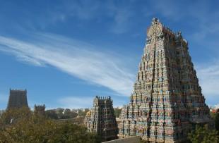 Meenakshi hindu temple in Madurai, Tamil Nadu, South India. Sculptures on Hindu temple gopura (tower). copy