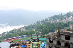Buildings on plain and uphill in Gangtok, Sikkim. copy