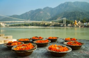 Puja flowers offering for the Ganges river in Rishikesh, India copy