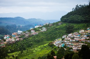 City scape on Nilgiri mountains at Udhagamandalam : Udhagai : Ooty, Nilgiris, Tamil Nadu, India copy