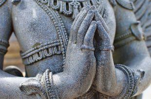 Praying hands of Garuda Statue at the Chennakeshava Temple built in 1117 AD by the Hoysalas at Belur, Karnataka, India copy