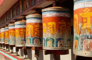 Prayer wheels at Zang Dhok Palri Phodang, a Buddhist monastery in Kalimpong in West Bengal, India. copy