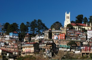 View on the Shimla city in Himalaya mountains. copy